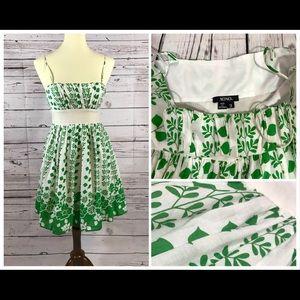 XOXO Green and White Sundress Size 3